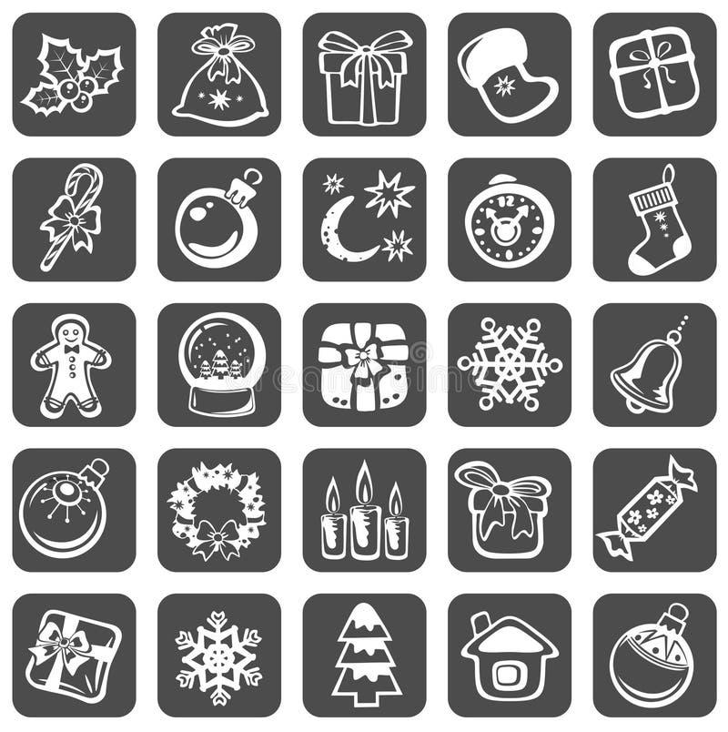 Jogo de símbolos do Natal ilustração stock