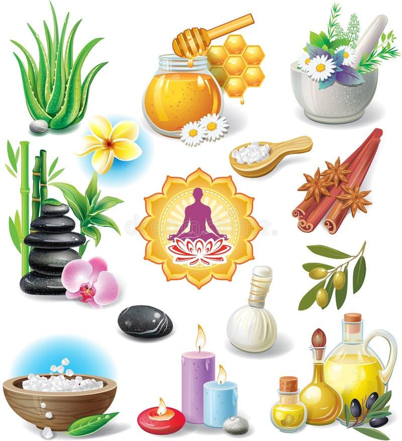 Jogo de símbolos dos TERMAS ilustração royalty free