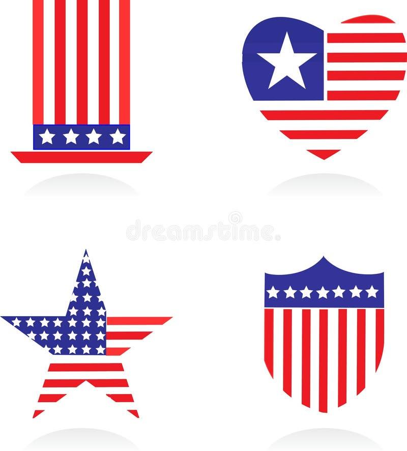 Jogo de símbolos patriótico americano - 1 ilustração stock