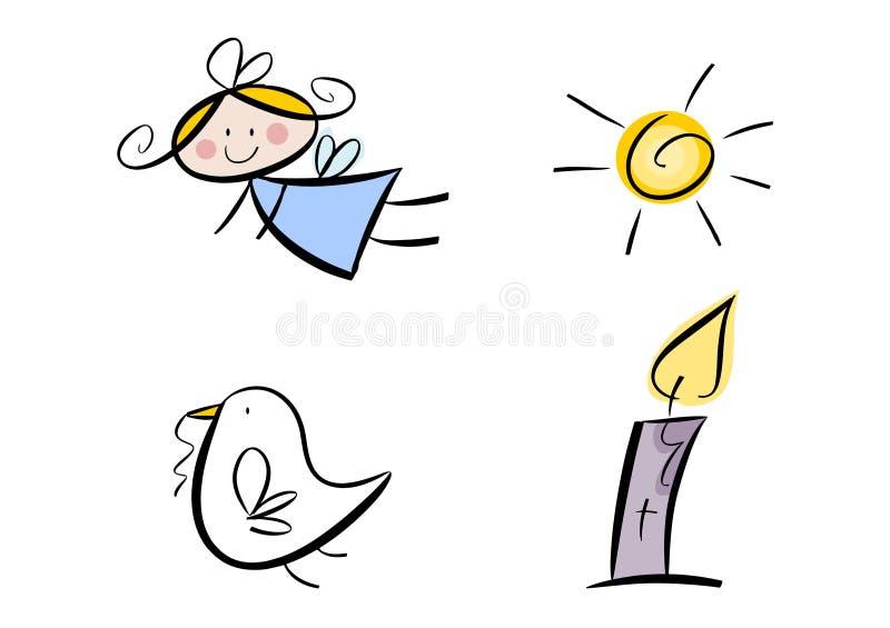 Jogo de símbolos religiosos (para miúdos) ilustração royalty free