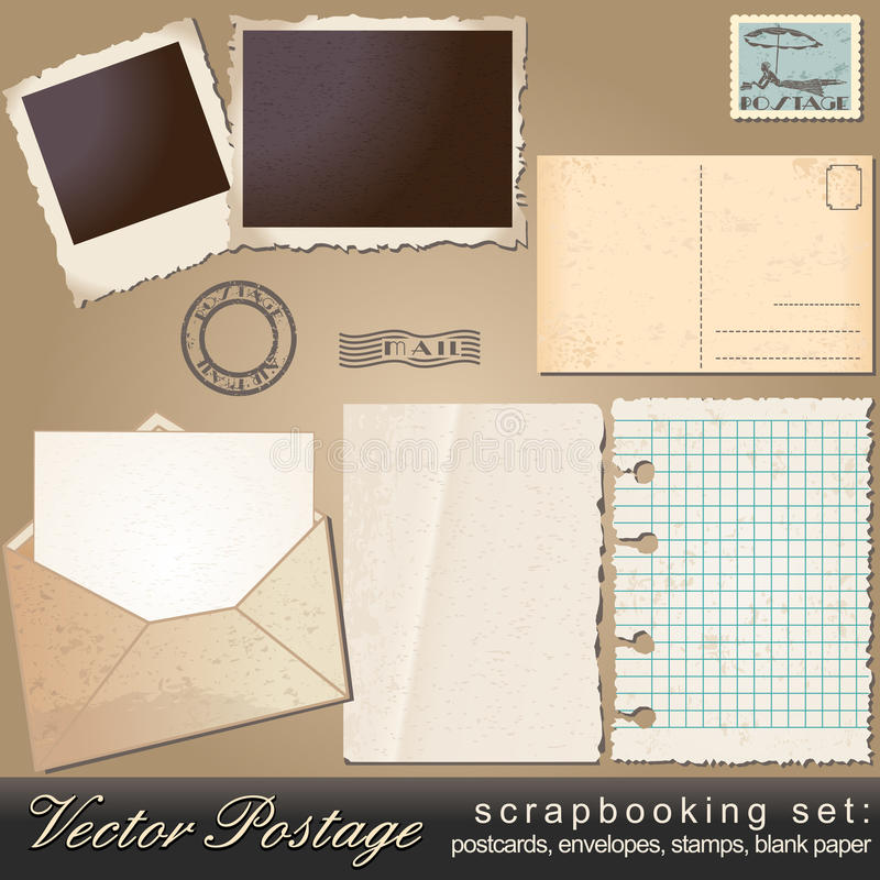 Jogo de Scrapbooking de objetos do porte postal do vintage ilustração royalty free