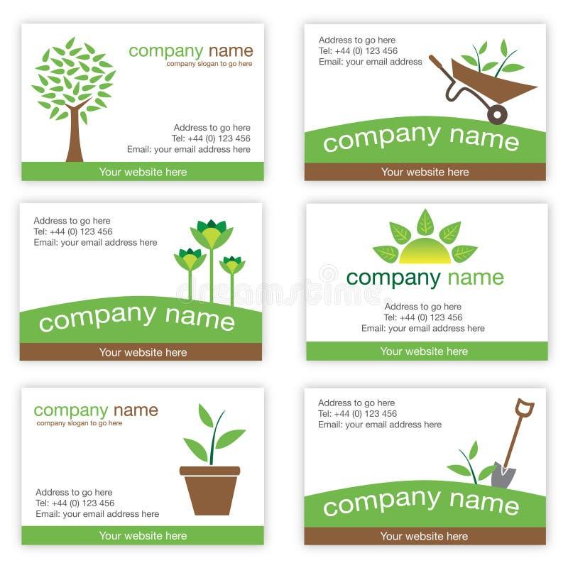 Jogo de seis cartões da jardinagem e da natureza ilustração royalty free