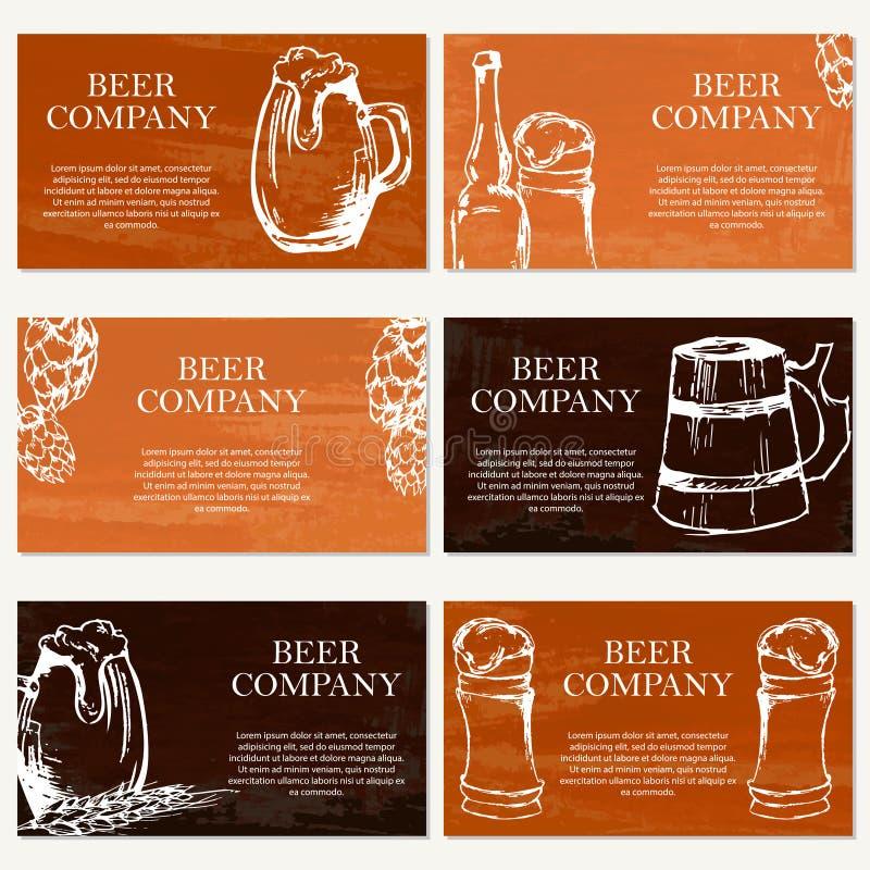 Jogo de seis cartões Empresa da cerveja Tema do restaurante ilustração stock