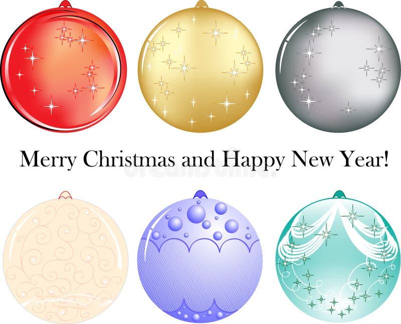 Jogo de seis esferas como a decoração por o ano novo ilustração royalty free