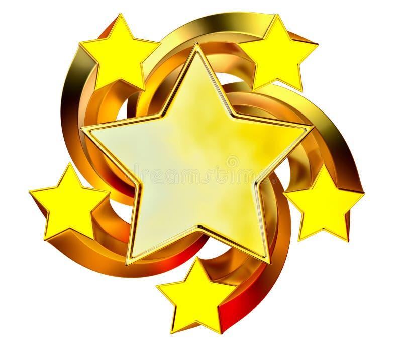 Jogo de seis estrelas brilhantes do ouro no movimento ilustração stock