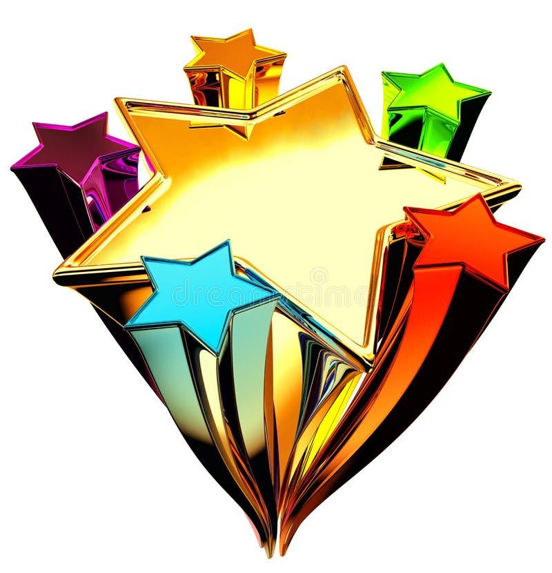 Jogo de seis estrelas no movimento ascendente ilustração do vetor
