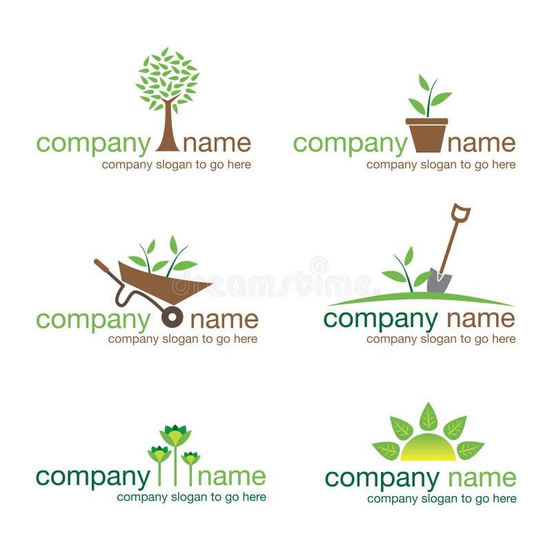 Jogo de seis logotipos de jardinagem ilustração royalty free