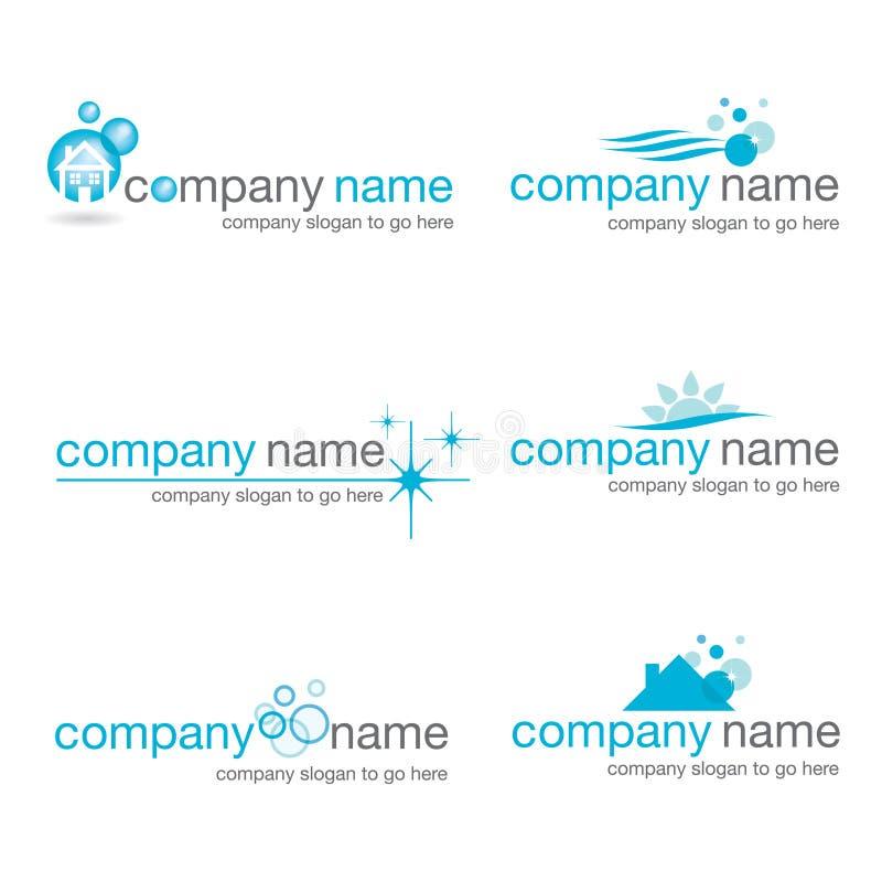 Jogo de seis logotipos de limpeza ilustração do vetor