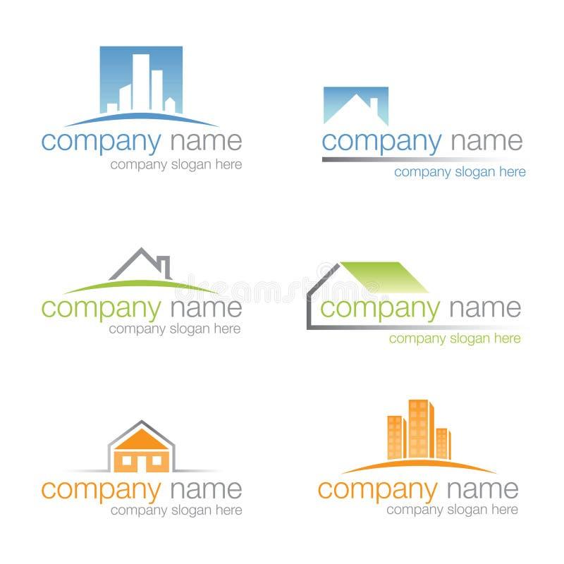 Jogo de seis logotipos dos bens imobiliários ilustração do vetor