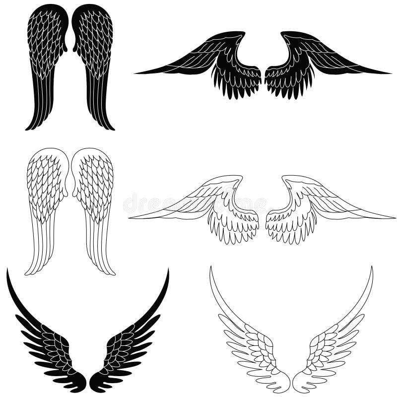 Jogo de seis pares de asas do anjo ilustração do vetor