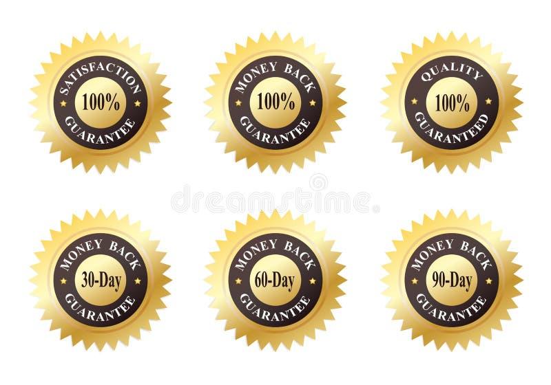 Jogo de seis selos do ouro ilustração royalty free