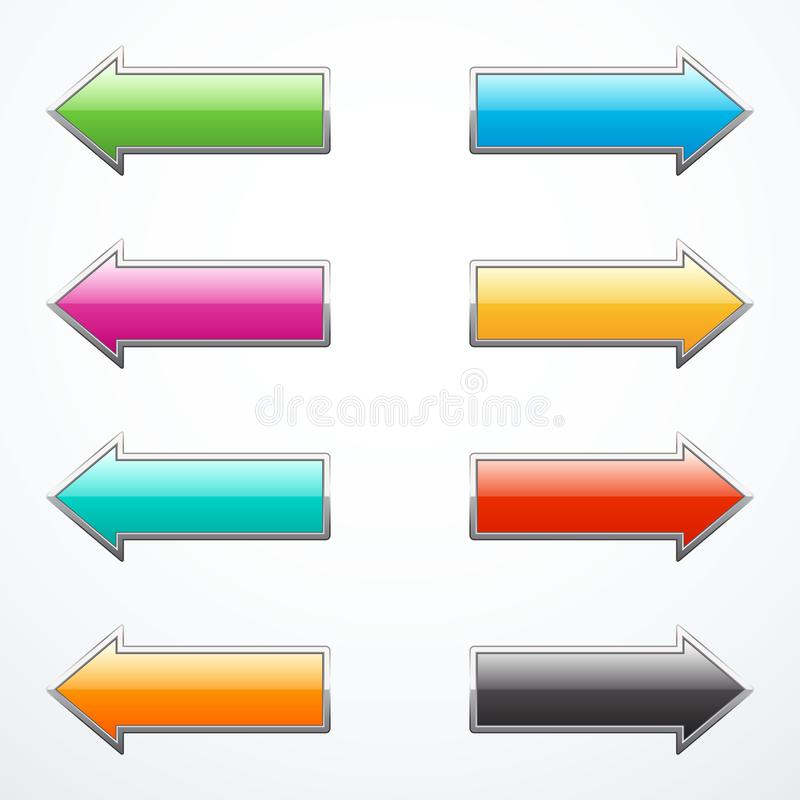Jogo de setas coloridas ilustração stock