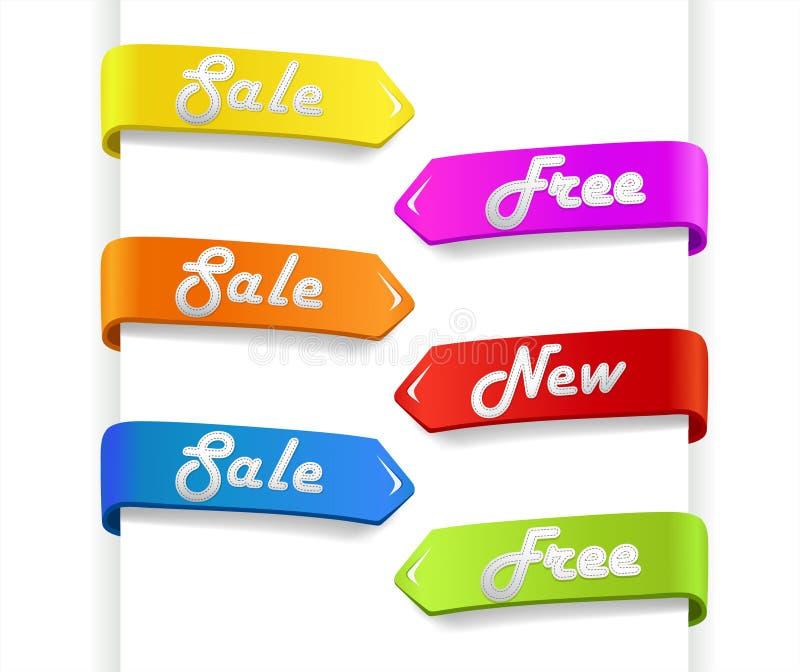 Jogo de setas coloridas da venda ilustração royalty free