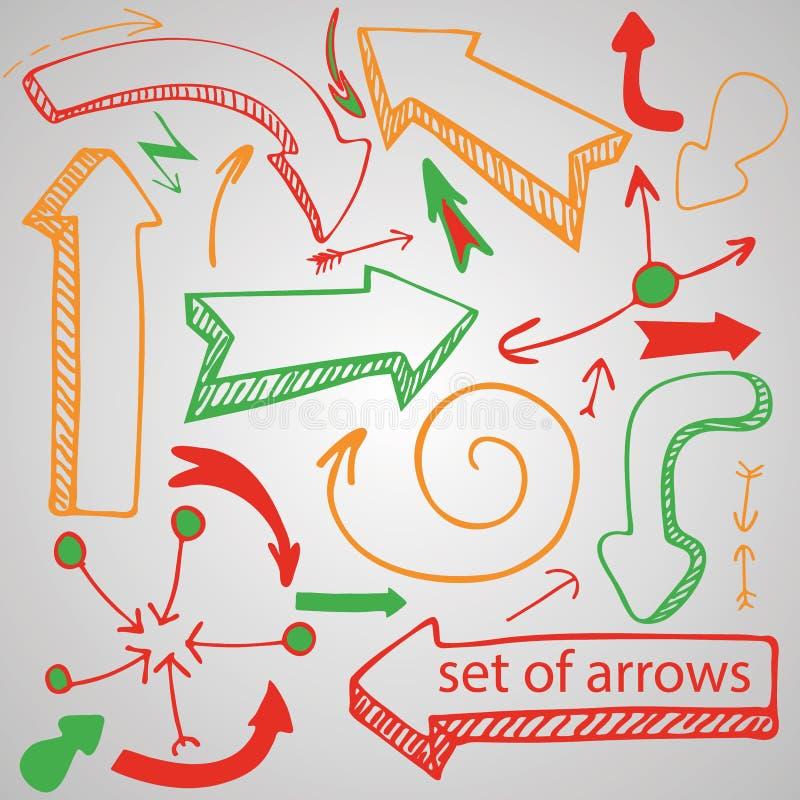 Jogo de setas do vetor Setas desenhados à mão e quadros ilustração stock