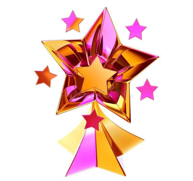 Jogo de sete estrelas brilhantes do ouro no movimento ilustração do vetor
