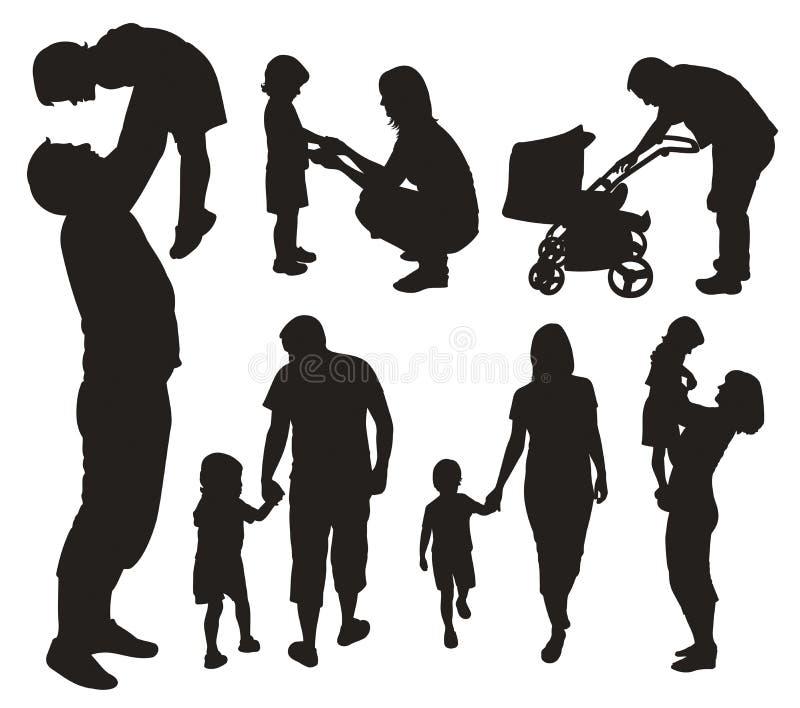 Jogo de silhuetas da família. ilustração stock