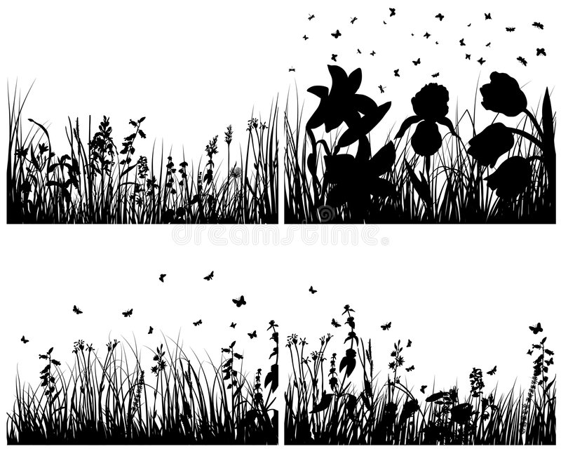 Jogo de silhuetas da grama ilustração stock