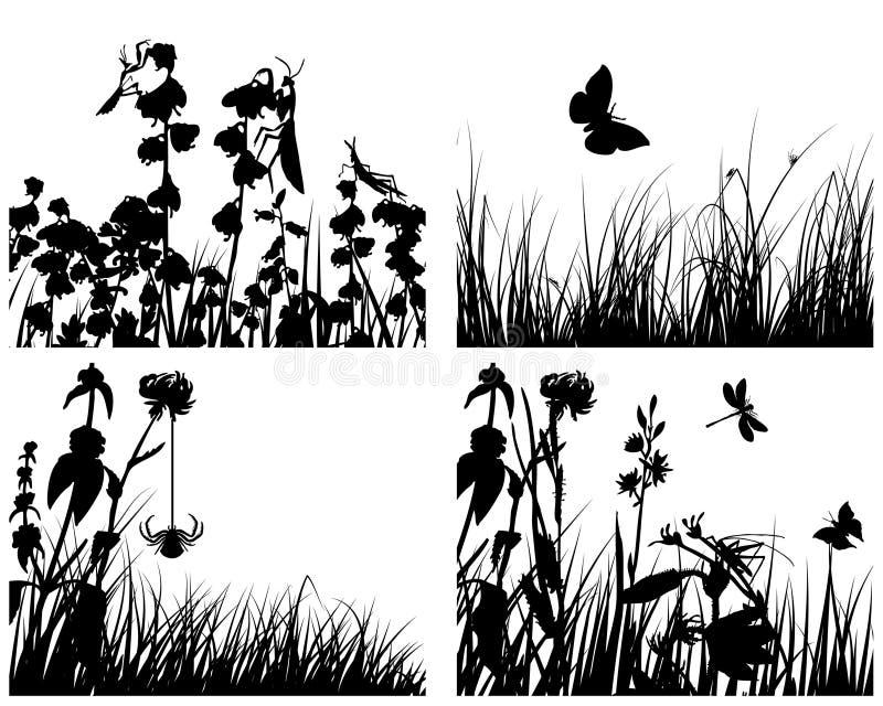 Jogo de silhuetas da grama ilustração do vetor