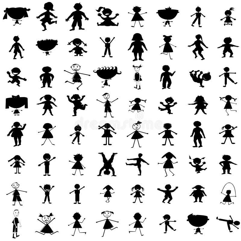Jogo de silhuetas desenhadas mão das crianças ilustração royalty free