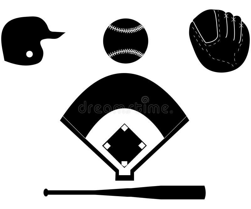 Jogo de silhuetas do basebol ilustração stock