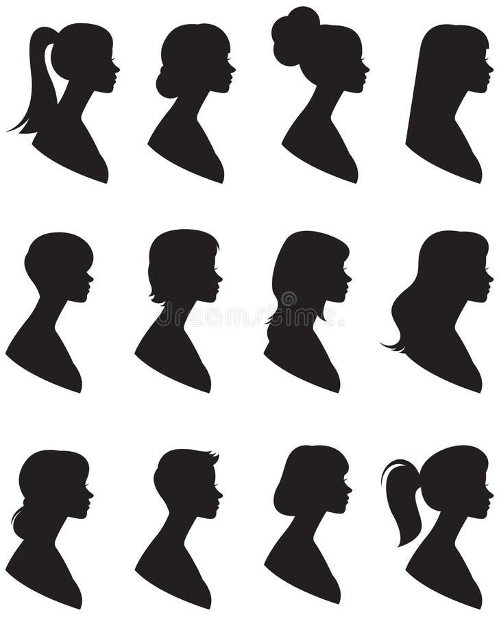 Jogo de silhuetas do vetor Retrato de uma mulher em um perfil com ilustração stock