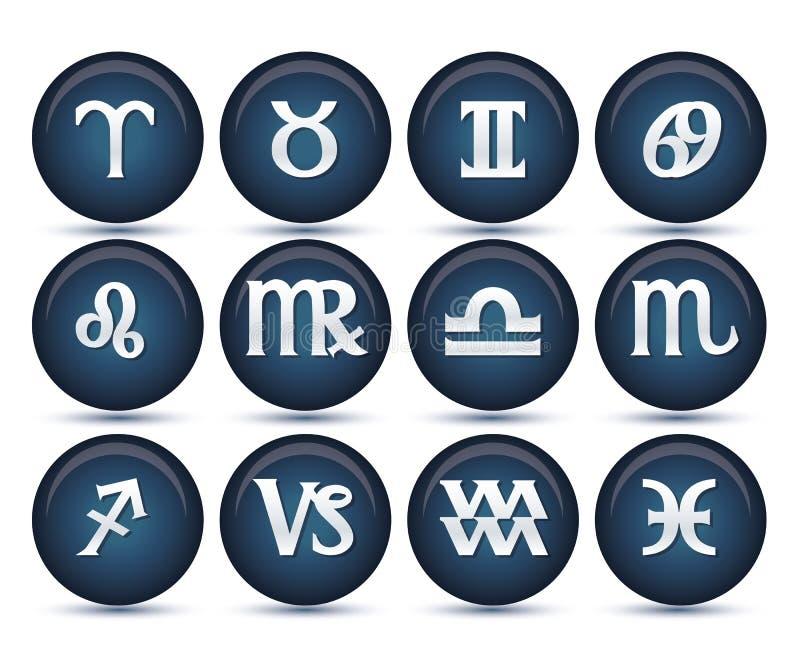 Jogo de sinais do zodíaco ilustração royalty free