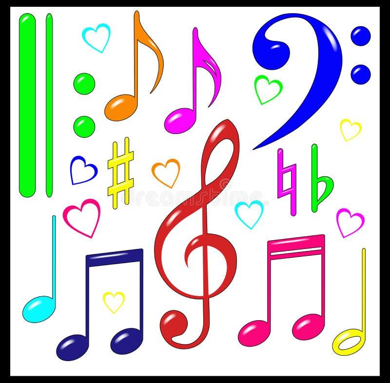 Jogo de sinais musicais. Preto. ilustração royalty free