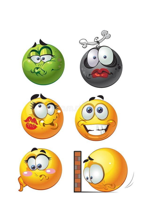 Jogo de sorrisos redondos da emoção do grupo ilustração stock