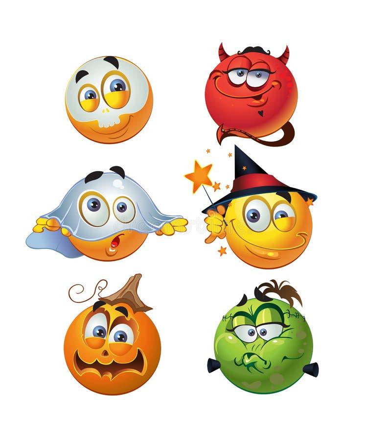 Jogo de sorrisos redondos de Halloween do grupo ilustração royalty free