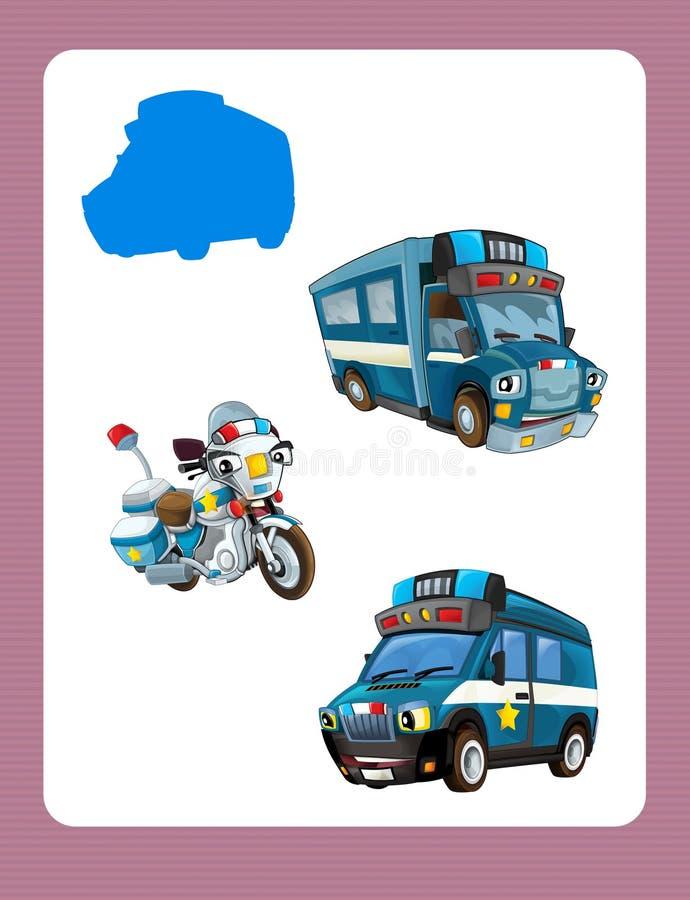 Jogo de suposição dos desenhos animados para crianças com carros policiais coloridos ilustração do vetor