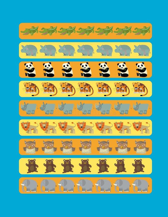 Jogo de suposição dos desenhos animados para crianças com os animais selvagens coloridos ilustração do vetor