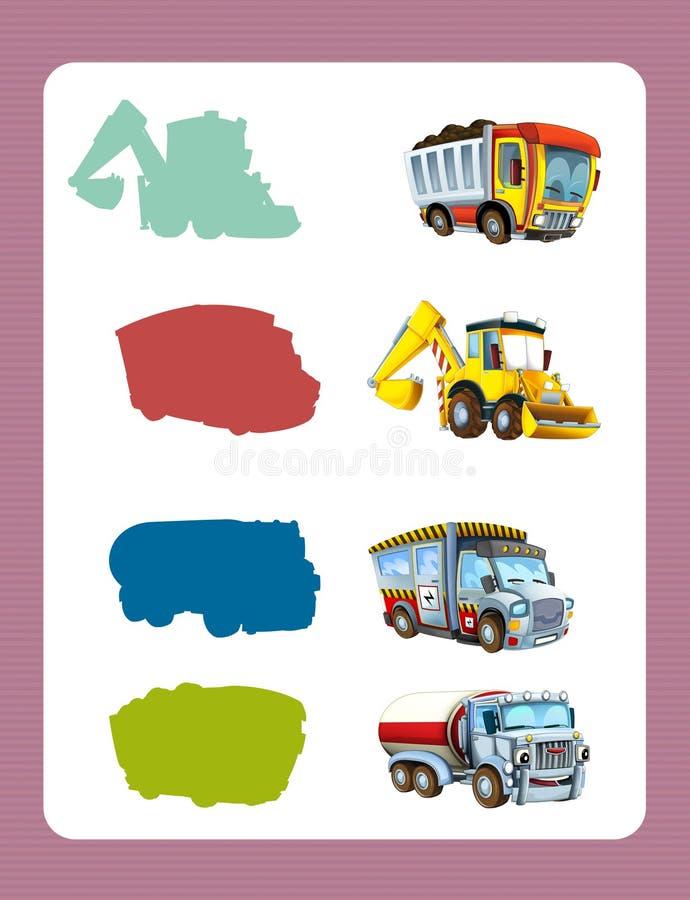 Jogo de suposição dos desenhos animados para crianças com os carros coloridos da indústria ilustração royalty free