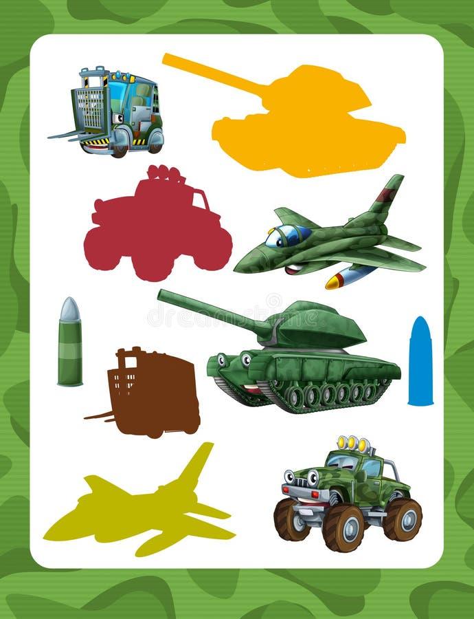 Jogo de suposição dos desenhos animados para crianças com os veículos militares coloridos e elementos que juntam-se a pares ilustração royalty free