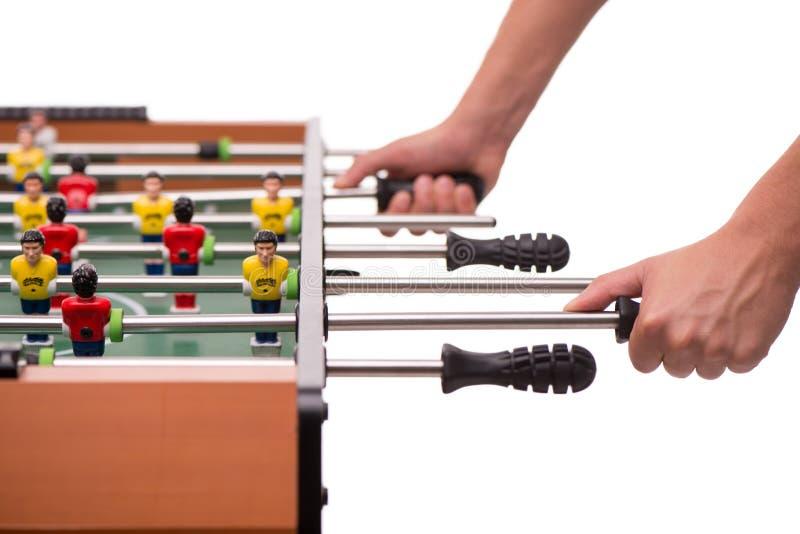 Jogo de tabela do close-up do futebol ou do foosball imagens de stock royalty free