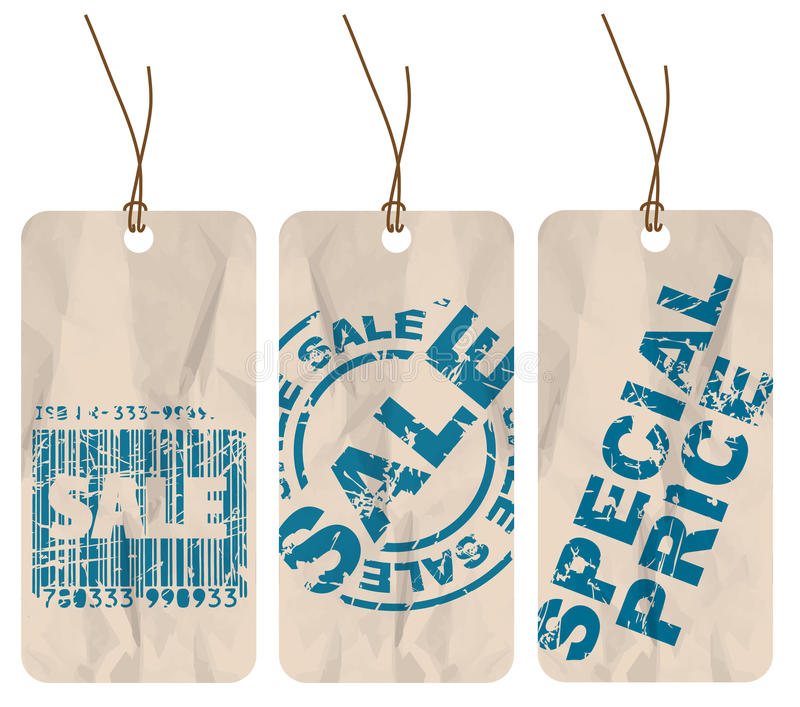 Jogo de Tag do papel da venda ilustração stock