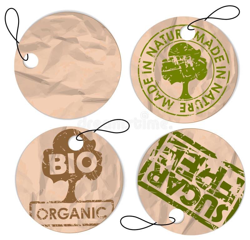 Jogo de Tag redondos do grunge para o alimento biológico ilustração stock