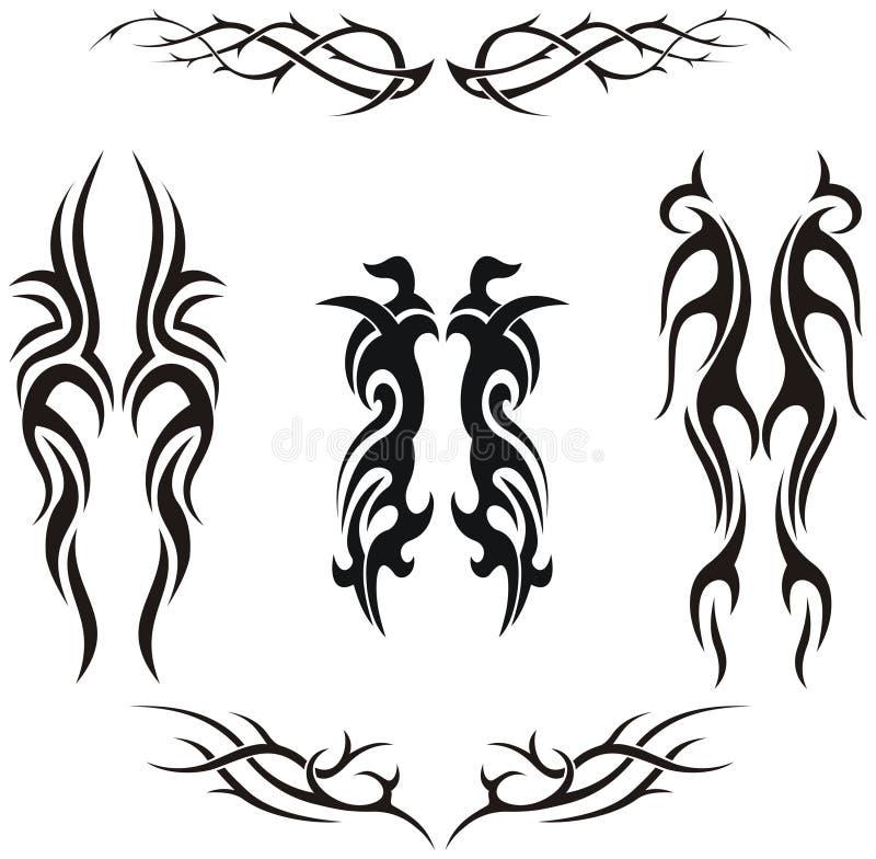 Jogo de tatuagens tribais do vetor ilustração do vetor