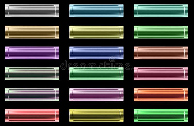 Jogo de teclas coloridas metálicas do Web ilustração stock