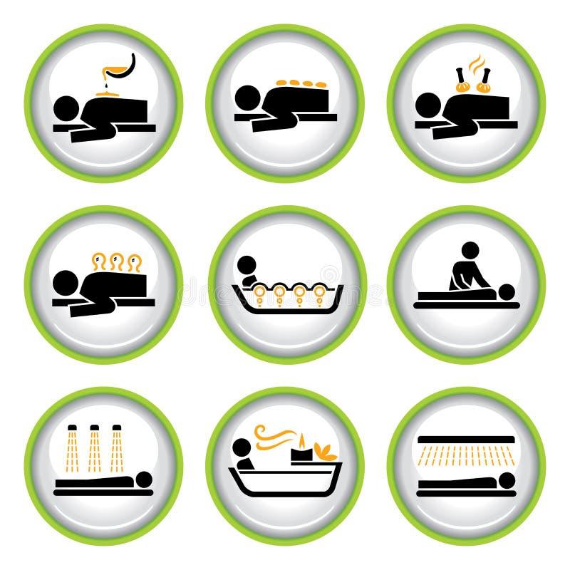 Jogo de teclas do pictograma de Wellness&Spa mim ilustração do vetor