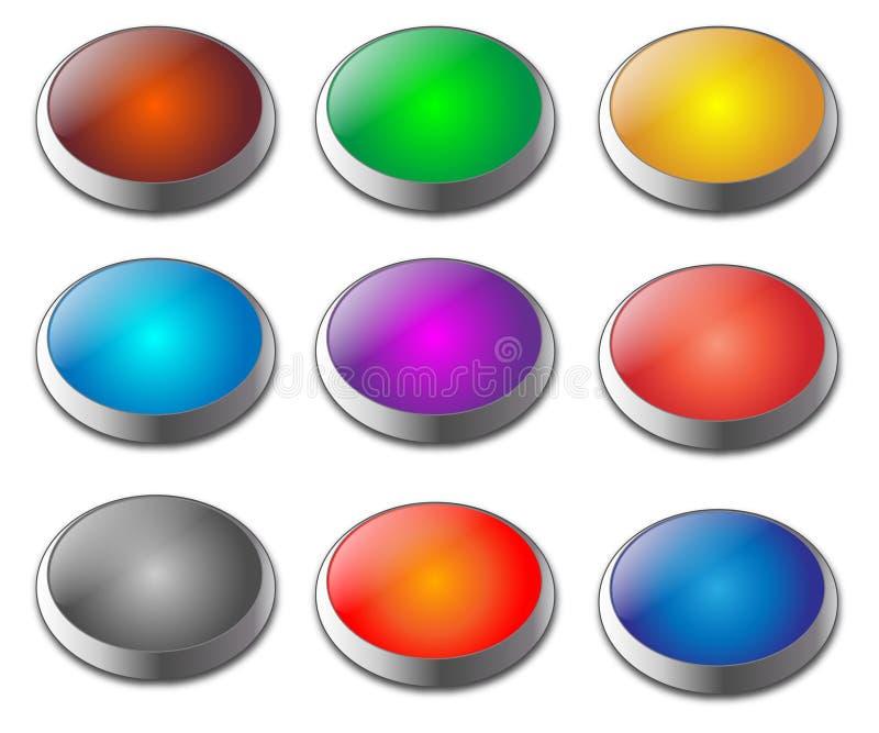 Jogo de teclas em branco metálicas do Web do gel ilustração do vetor
