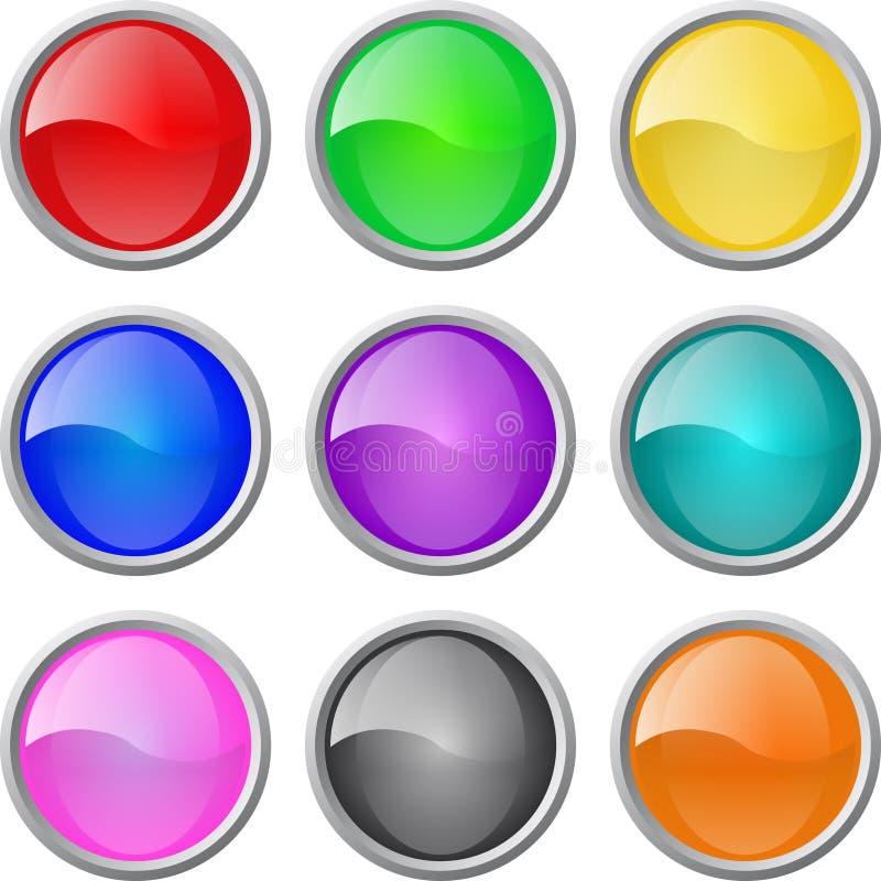 Jogo de teclas lustrosas do espaço em branco do Web do vetor ilustração stock
