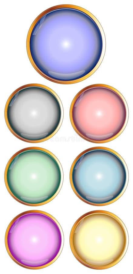 Jogo de teclas lustrosas do Web ilustração stock