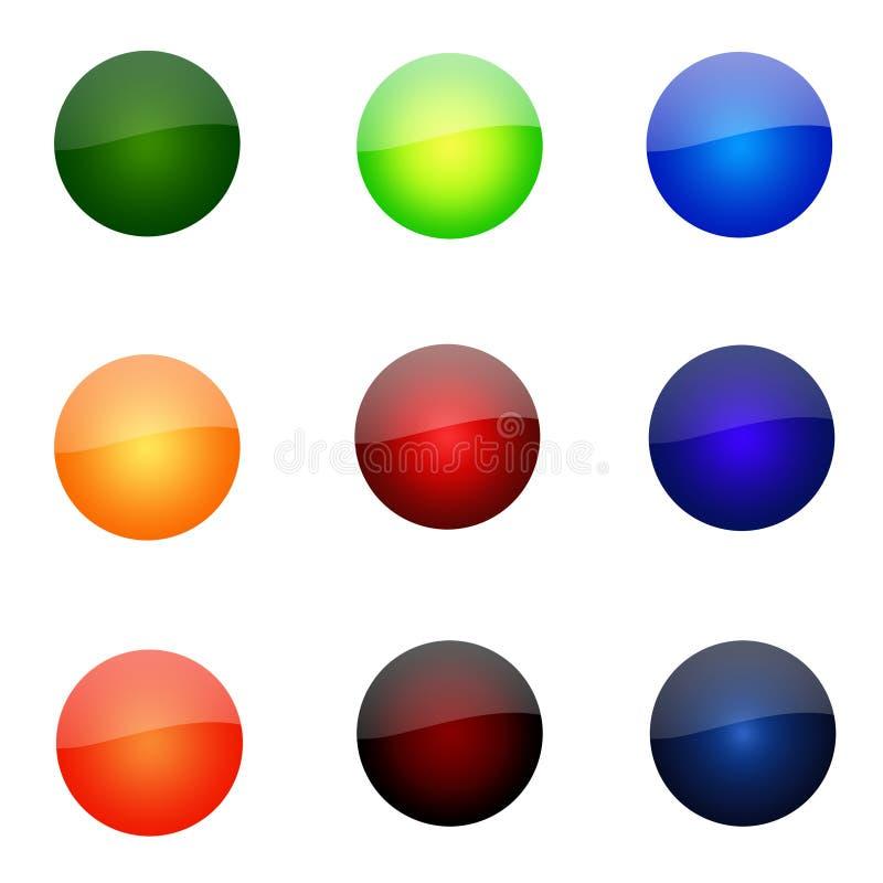 Jogo de teclas redondas do Web site ilustração stock