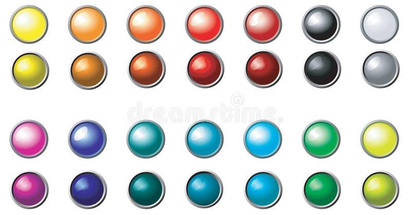 Jogo de teclas redondas multi-coloured ilustração royalty free