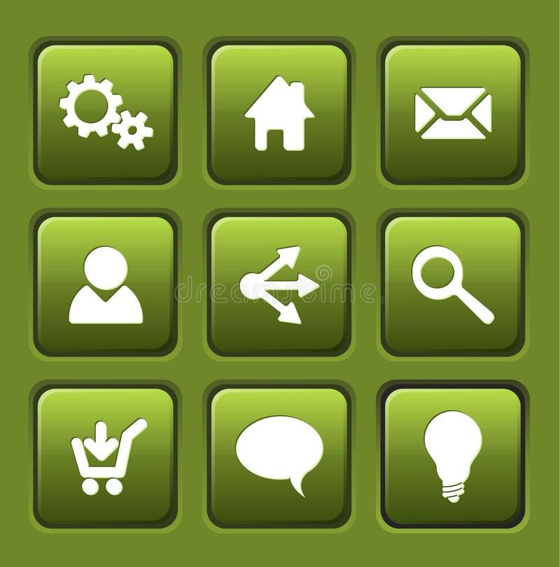 Jogo de teclas verdes do quadrado do Web do vetor ilustração stock