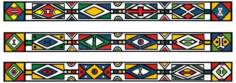 Jogo de testes padrões africanos tradicionais do ndebele ilustração royalty free