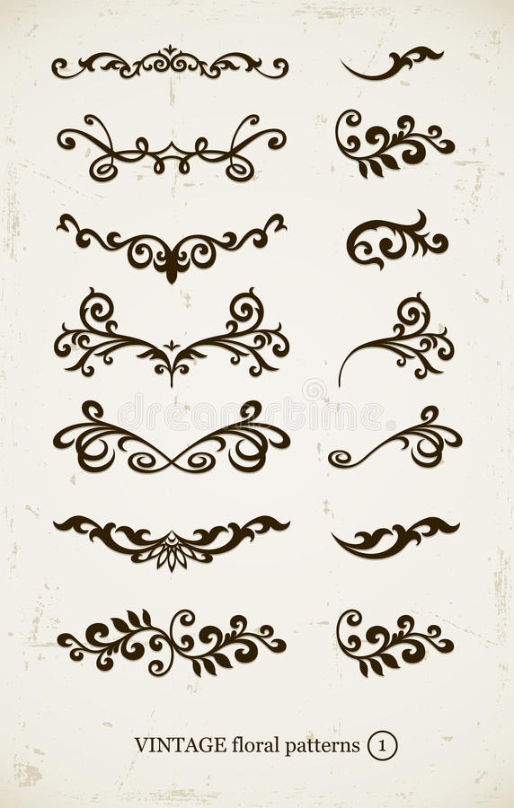Jogo de testes padrões decorativos do vintage ilustração do vetor