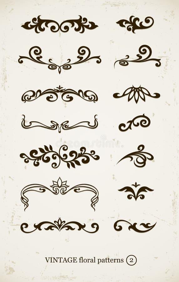 Jogo de testes padrões decorativos do vintage ilustração stock