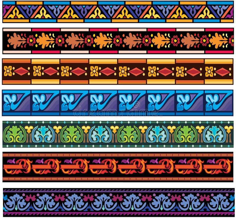 Jogo de testes padrões europeus medievais da faixa ilustração royalty free