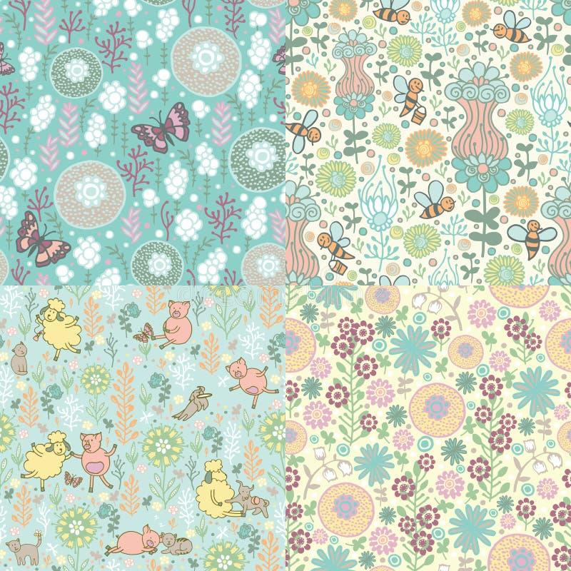 Jogo de testes padrões florais ilustração do vetor